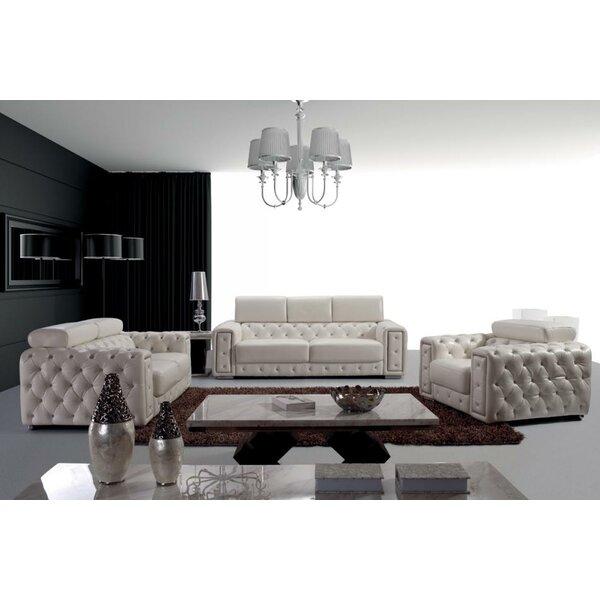 Coalpit Heath Leather 3 Piece Living Room Set by Orren Ellis