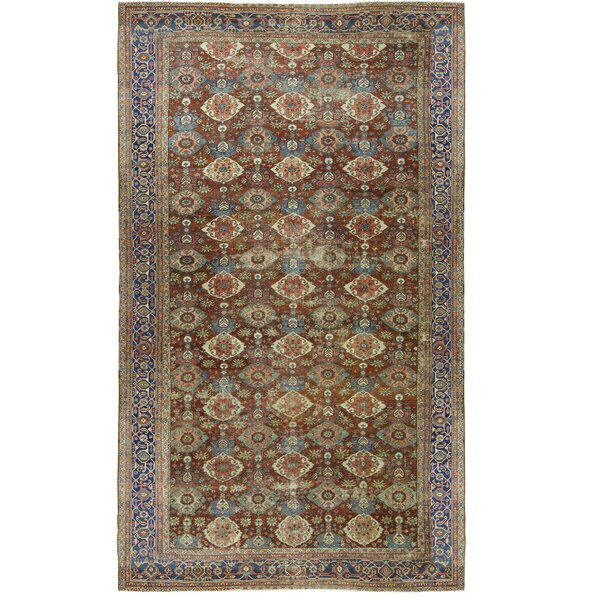 One-of-a-Kind Hand-Knotted Brown/Navy 11'5 x 18'10 Wool Area Rug