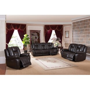 Mickey Leather Match Reclining Living Room Set by Red Barrel Studio®