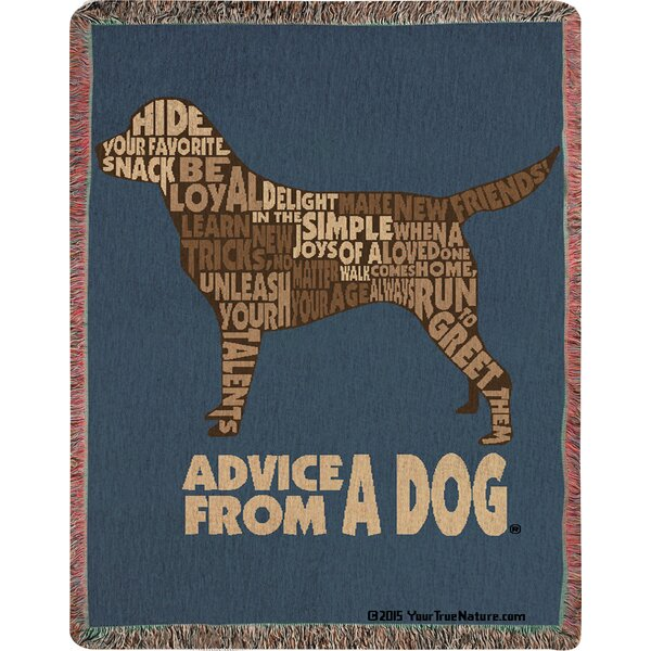 Advice from a Dog Text Tapestry Cotton Throw by Manual Woodworkers & Weavers