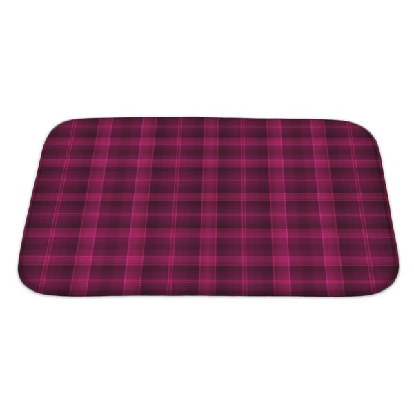 Beta Bold Tartan and Deep Raspberry Rectangle Non-Slip Plaid Bath Rug