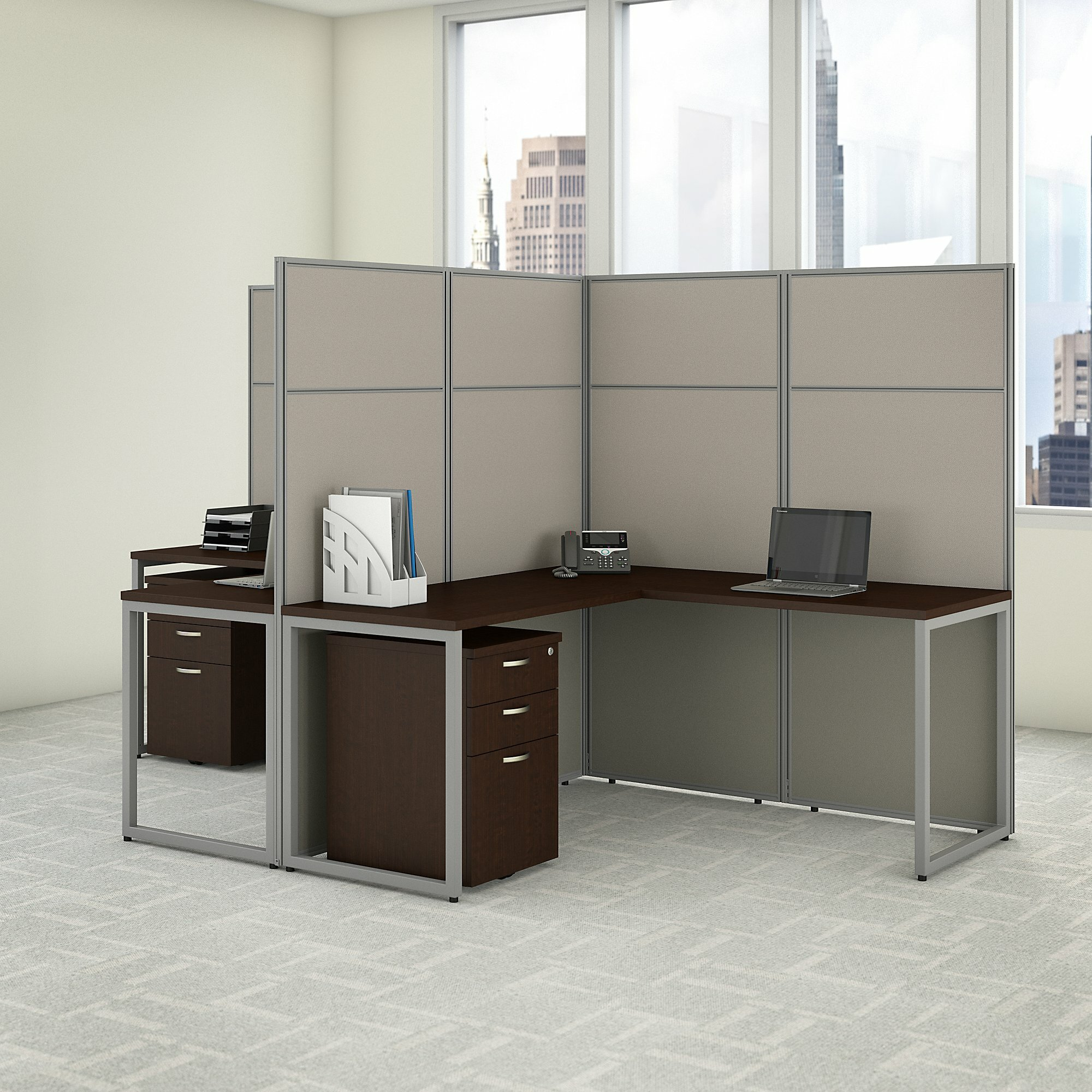 Easy Office 2 Person L Shaped Desk