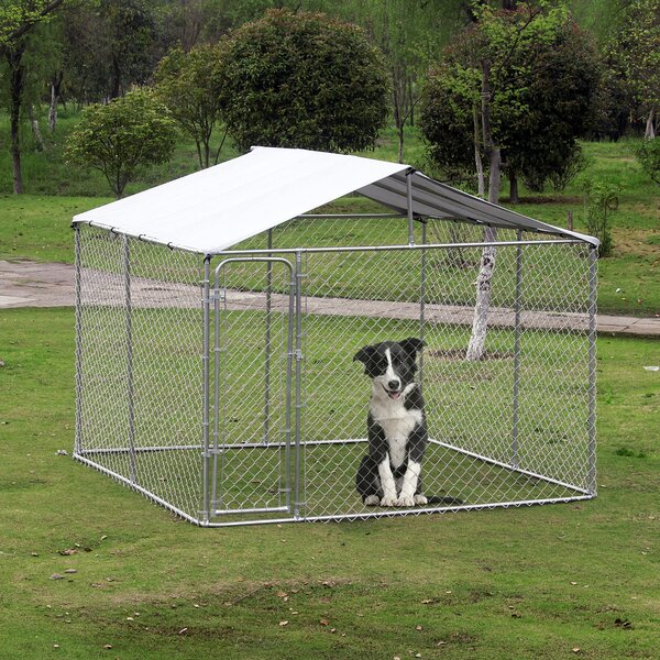 Large Outdoor Dog Steel Yard Kennel by Pawhut