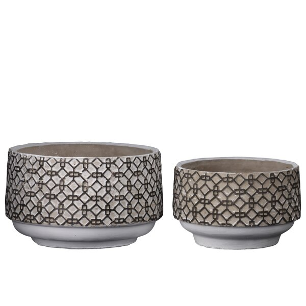 Datto Round 2 Piece Cement Pot Planter Set by Williston Forge