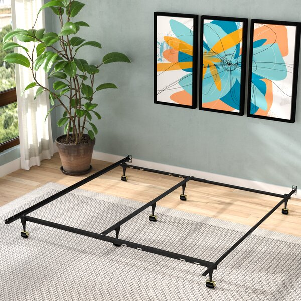 Caulkins Heavy Duty Adjustable Metal Bed Frame with Double Rail Center Bar and 7-Locking Rug Rollers by Alwyn Home