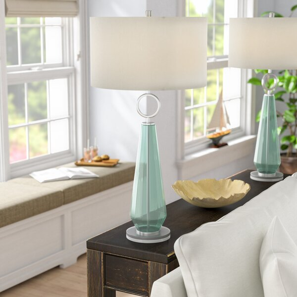 Jaylah Transitional Sea Glass Acrylic and Metal 36 Table Lamp by Beachcrest Home
