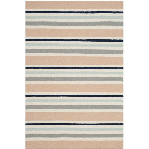Claro Multi Stripe Handand-Tufted Wool Pink/Gray Area Rug by Harriet Bee