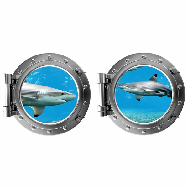 Sharks Porthole Fabric Wall Decal by Decal the Walls