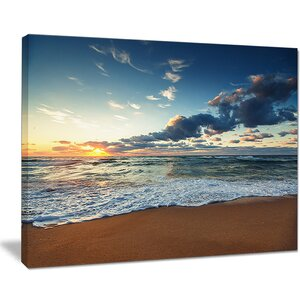 'Sunrise and Glowing Waves in Ocean Seashore' Photographic Print on Wrapped Canvas by Highland Dunes