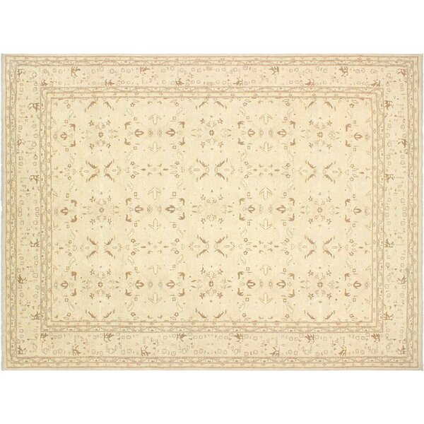Xenos Hand-Knotted Rectangle Wool Tan Indoor Area Rug by Astoria Grand
