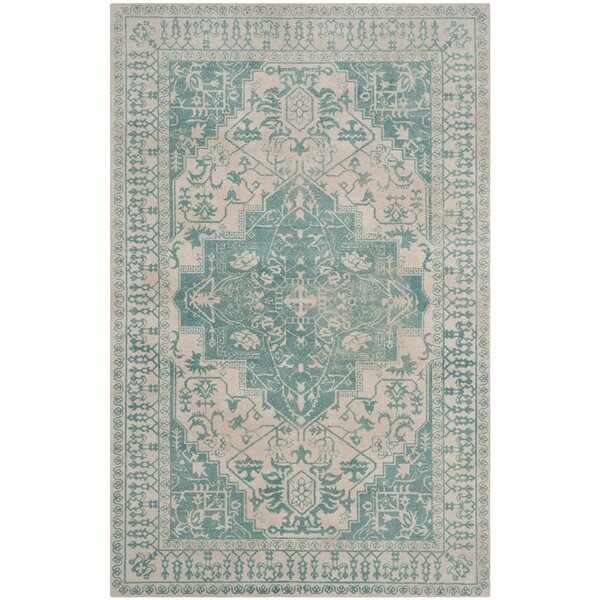 Mcfarland Hand-Tufted Ivory/Turquoise Area Rug by Astoria Grand