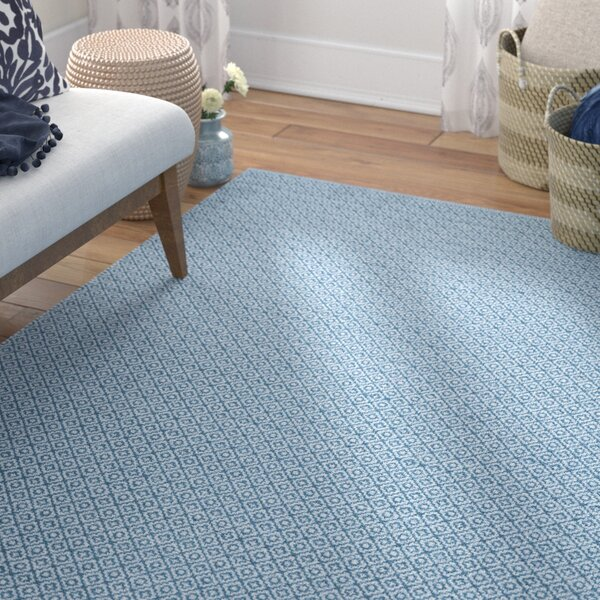Hampden Hand-Woven Cotton Ivory/Blue Area Rug by Bungalow Rose
