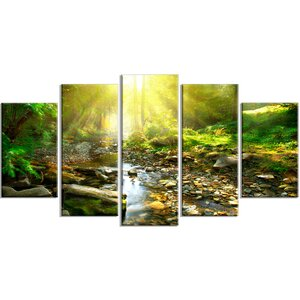 'Mountain Stream in Forest' 5 Piece Wall Art on Wrapped Canvas Set by Design Art