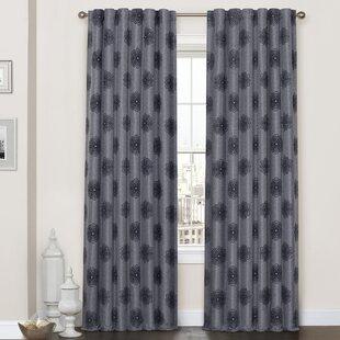 Archer Flock Geometric Blackout Thermal Rod Pocket Single Curtain Panel