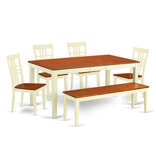 Cleobury 6 Piece Extendable Solid Wood Breakfast Nook Dining Set by August Grove