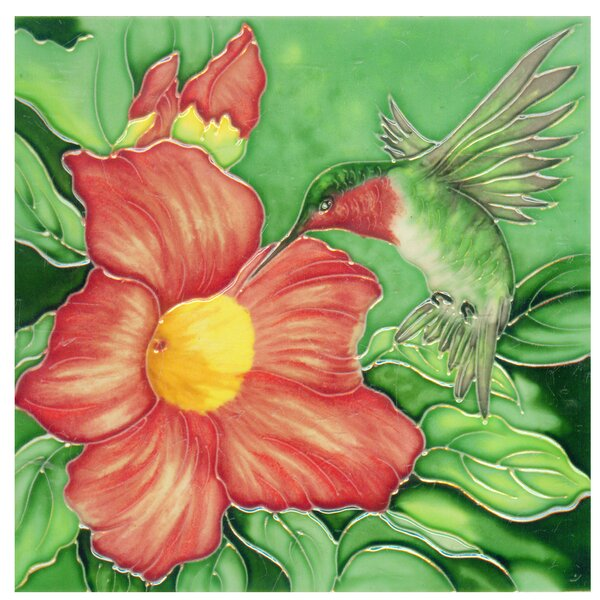 Hummingbird with 1 Big Flower Tile Wall Decor by Continental Art Center