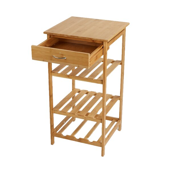 4 Tier Storage Rack Utility Organizer Bamboo Prep Table by Mind Reader