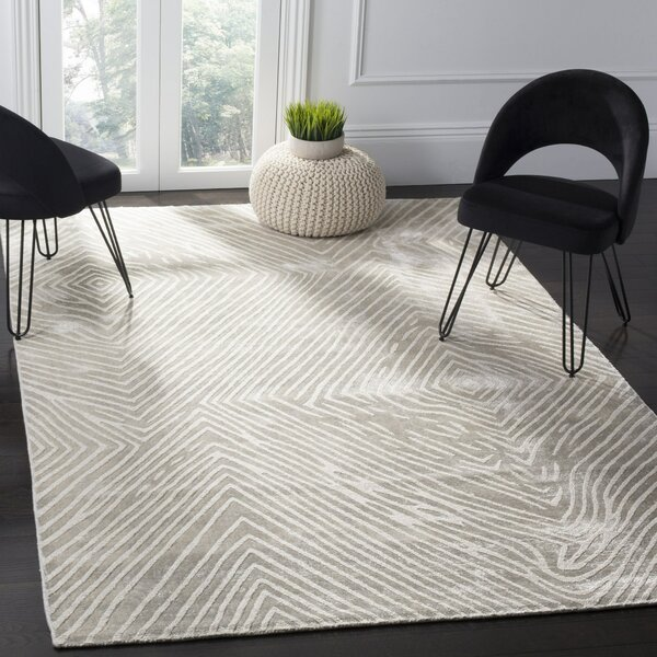 Moorhouse Hand-Woven Beige/Gray Area Rug by Wade Logan