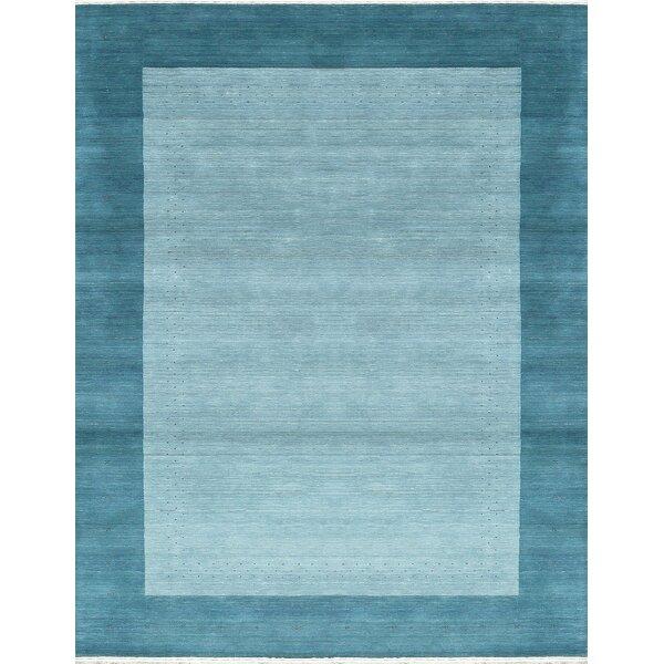 One-of-a-Kind Gabbeh Hand-Knotted Wool Aqua Area Rug by Bokara Rug Co., Inc.