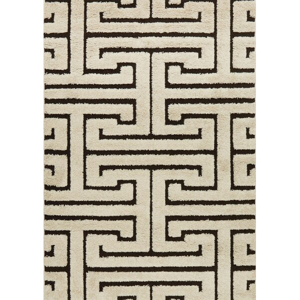 Dania Ivory/Dark Brown Area Rug by Wrought Studio