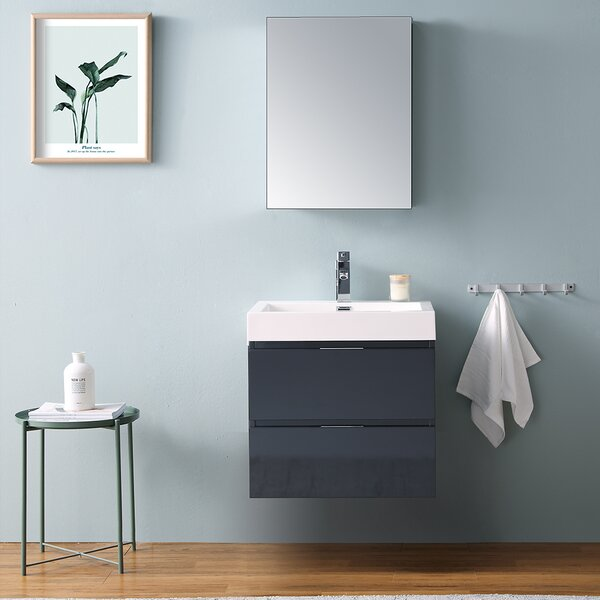 Senza Valencia 24 Wall-Mounted Single Bathroom Vanity Set with Mirror by Fresca