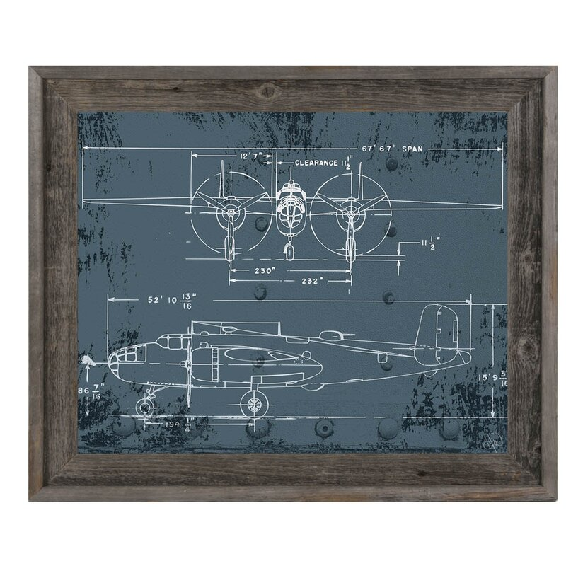 Click Wall Art \'Airplane Blueprint\' Reclaimed Wood Framed Graphic ...