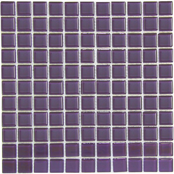 Crystal 1 x 1 Glass Mosaic Tile in Purple by Crystalcor USA