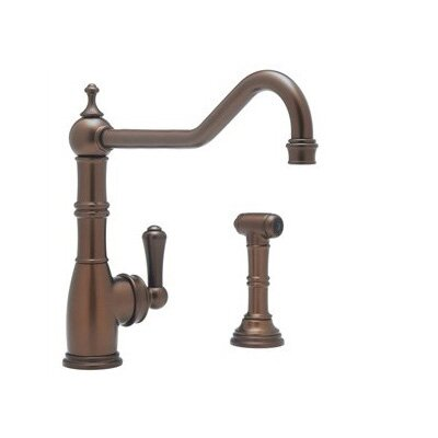 Perrin & Rowe® Edwardian™ Single Handle Kitchen Faucet With Sidespray with Lever Handle in English Bronze