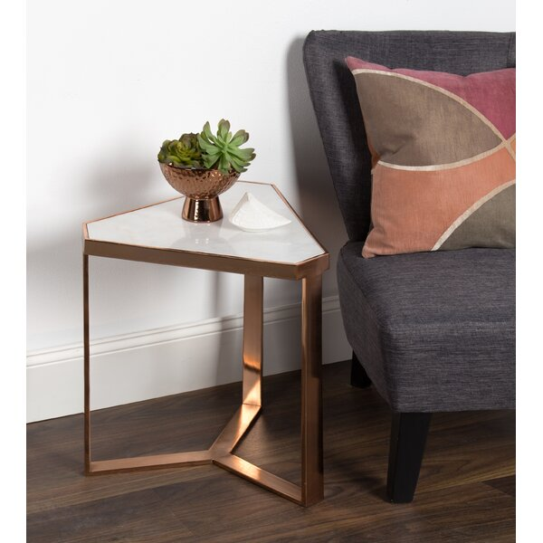 Perera Marble Triangle End Table by Bungalow Rose