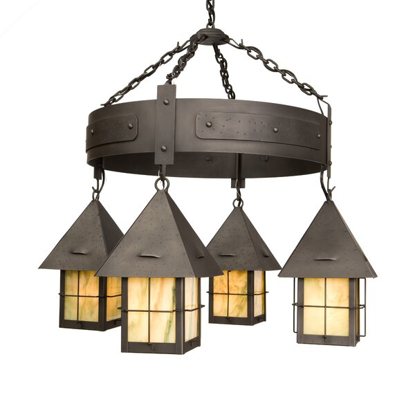 Callaway 4 - Light Shaded Wagon Wheel Chandelier by Millwood Pines Millwood Pines
