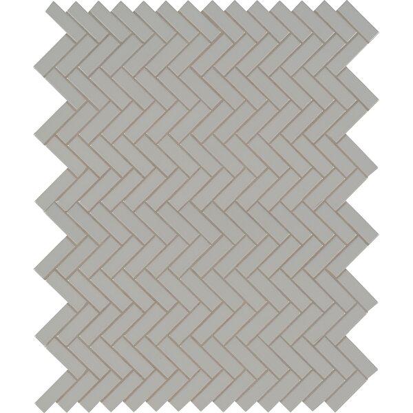 Domino Herringbone Mesh Mounted Porcelain Mosaic Tile in Gray by MSI