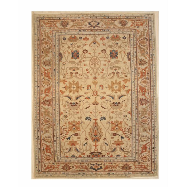 One-of-a-Kind Emet Hand-Knotted Wool Ivory Area Rug by Bloomsbury Market