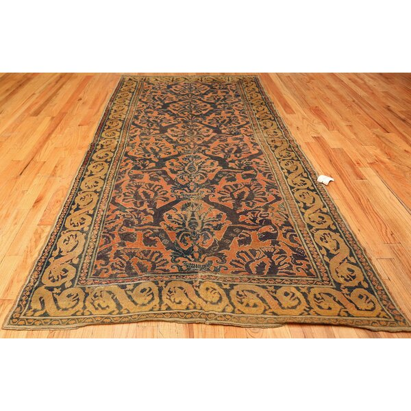 One-of-a-Kind 16th Century Hand-Knotted Before 1900 Green 5' x 10'2 Runner Wool Area Rug