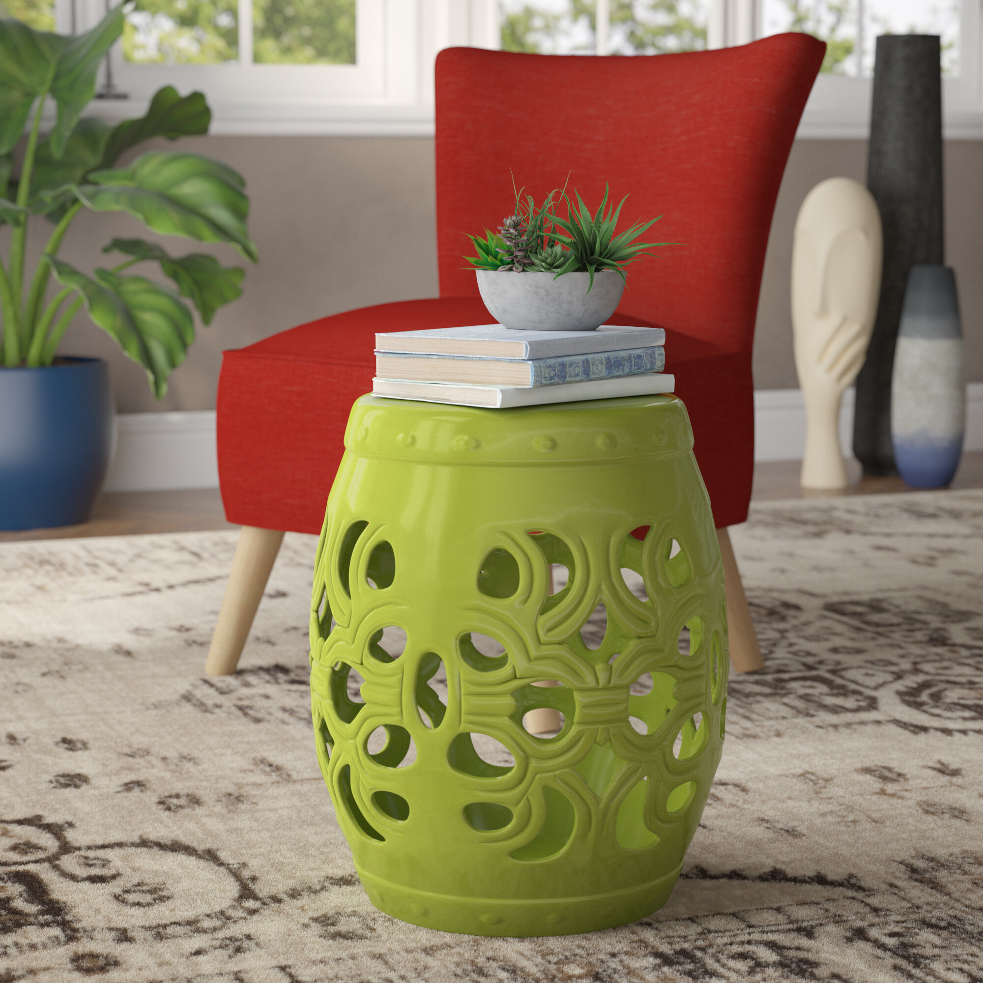 Patio Garden Stool Plant Stand Seat Glazed Ceramic Crafted Weather Resistant