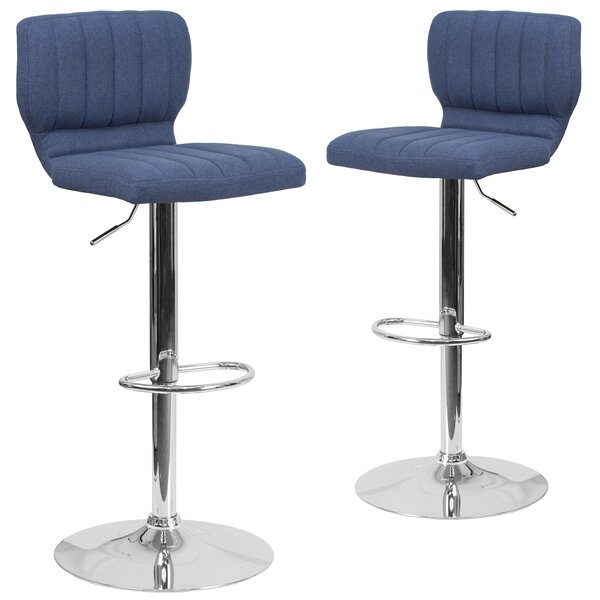 Hadnot Adjustable Height Swivel Bar Stool (Set of 2) by Brayden Studio