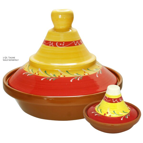 Eurita 2 Piece Almeria Hand Painted Mini Terracotta Round Tagine Set by Reston Lloyd