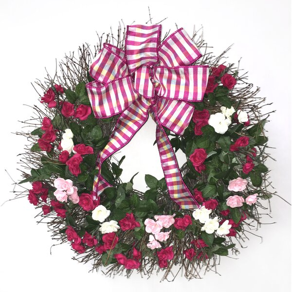 Tres Roses Wreath by Dried Flowers and Wreaths LLC