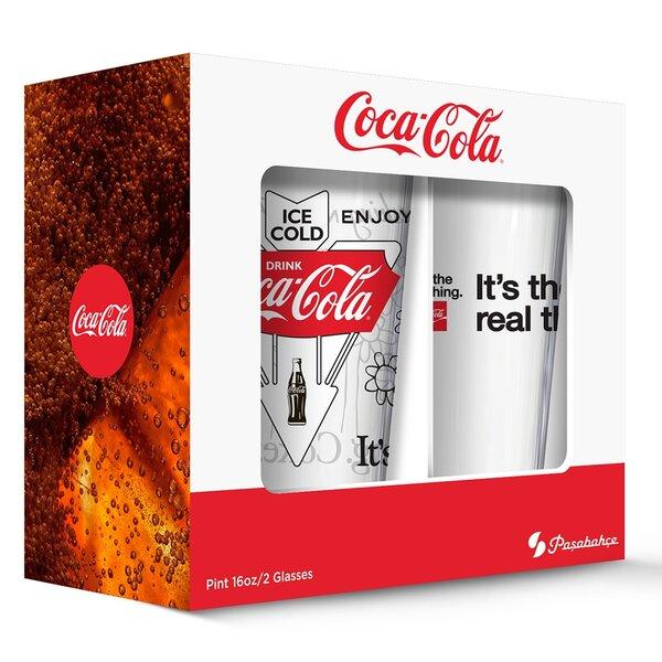Coca Cola Classic Logos Pub Pint Glasses (Set of 2) by PB