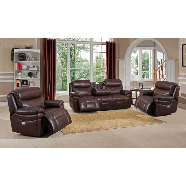 Sanford Reclining 3 Piece Leather Living Room Set by Amax