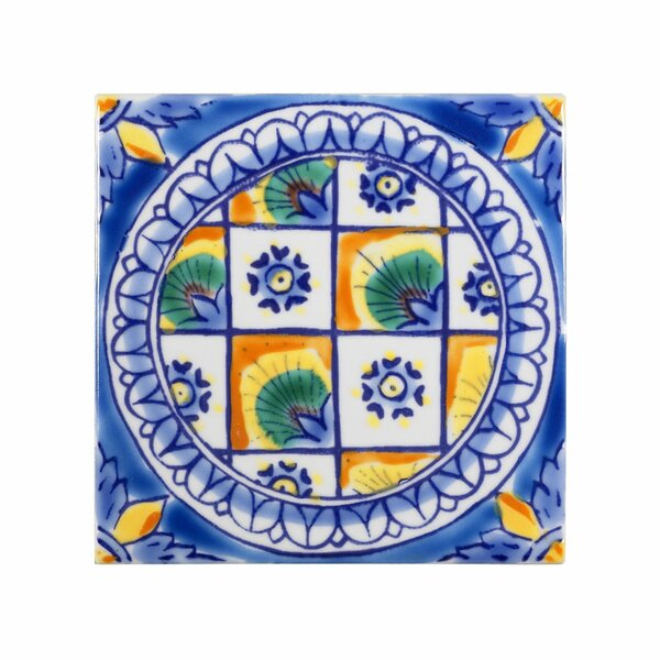 Mediterranean 4 x 4 Ceramic DeRuta Decorative Tile in Blue by Casablanca Market