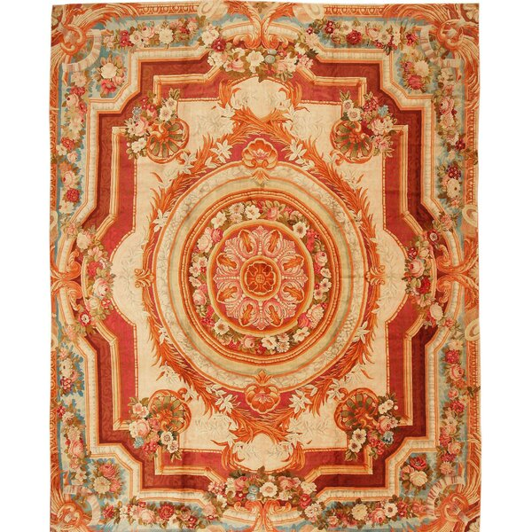 One-of-a-Kind Hand-Knotted Before 1900 English Red/Beige 15' x 18'10 Wool Area Rug