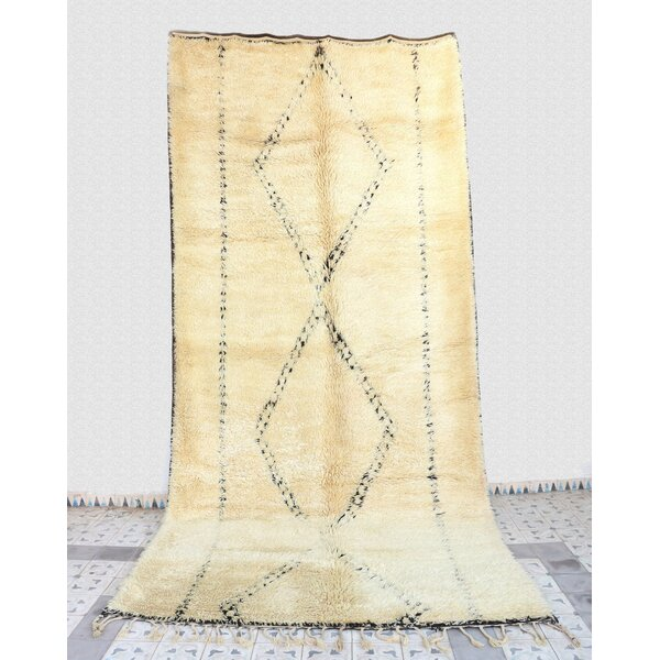 Beni Ourain Moroccan Berber Hand-Woven Wool Ivory Area Rug by Indigo&Lavender