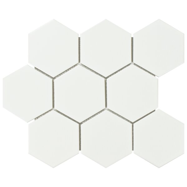 Retro Super Hex 3.73 x 3.73 Porcelain Mosaic Field Tile in Matte White by EliteTile