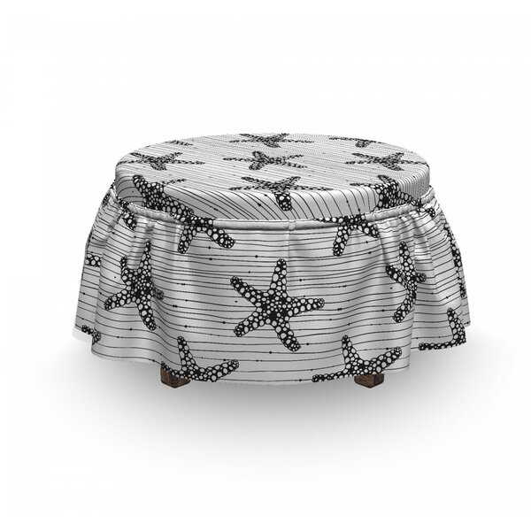 Starfish On Uneven Stripes Ottoman Slipcover (Set Of 2) By East Urban Home