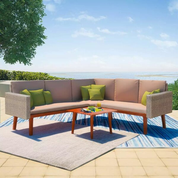 Langevin Garden 4 Piece Sectional Seating Group with Cushions by George Oliver