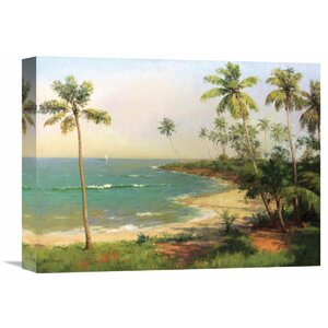 'Tropical Coastline' by Dupre Painting Print on Wrapped Canvas by Global Gallery