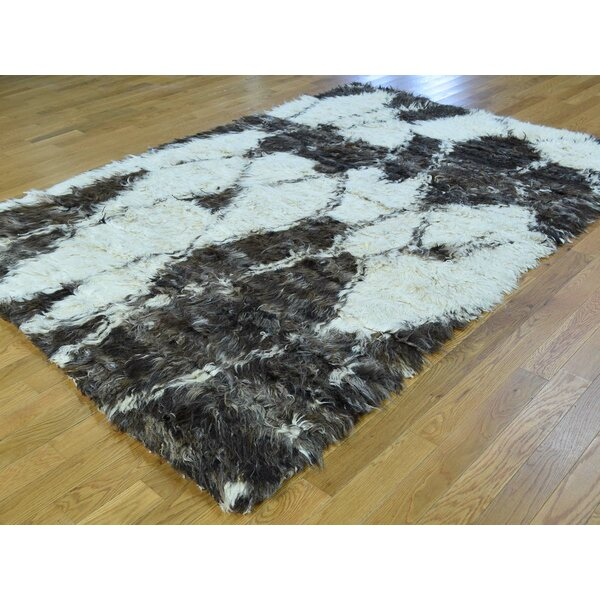 One-of-a-Kind Beard Moroccan Plush Handmade Shag Wool Area Rug by Isabelline
