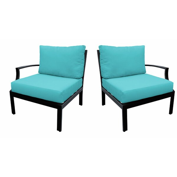 Kalama Left and Right Arm Patio Chair with Cushions (Set of 2) by Wrought Studio