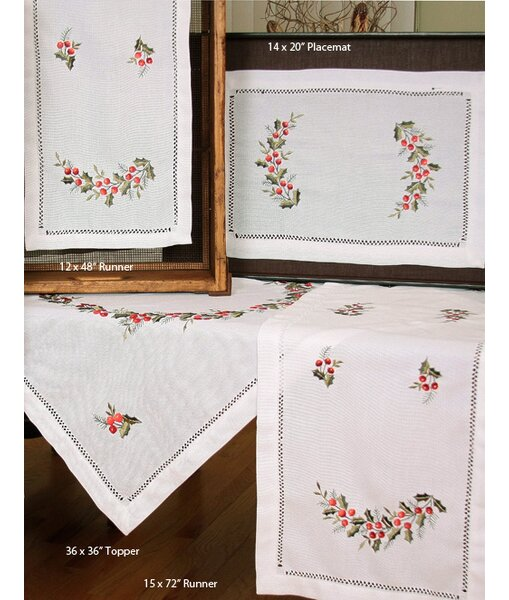 Holly Berry Embroidered Hemstitch Holiday Placemat (Set of 4) by The Holiday Aisle