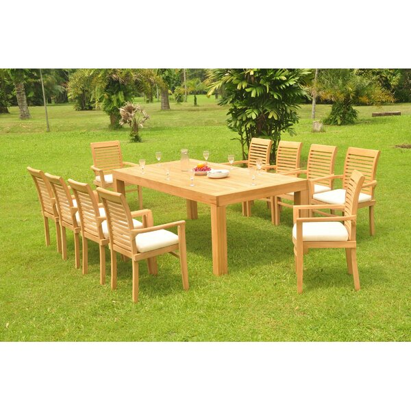 Kissling 11 Piece Teak Dining Set by Rosecliff Heights